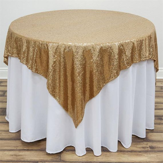 Round Sequin Tablecloth Overlay Runner Gold Champagne