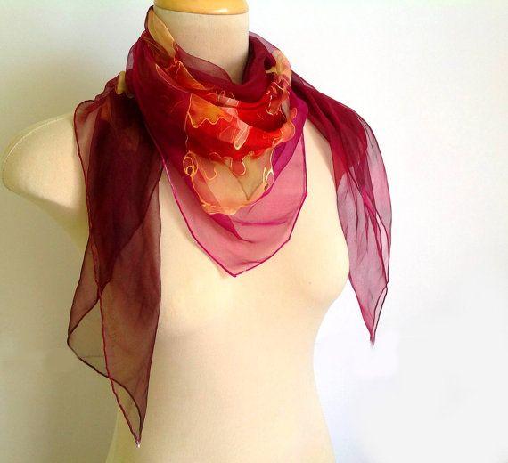 Koi carps silk scarf burgundy hand painted scarf by AndreaSilk, $70.00