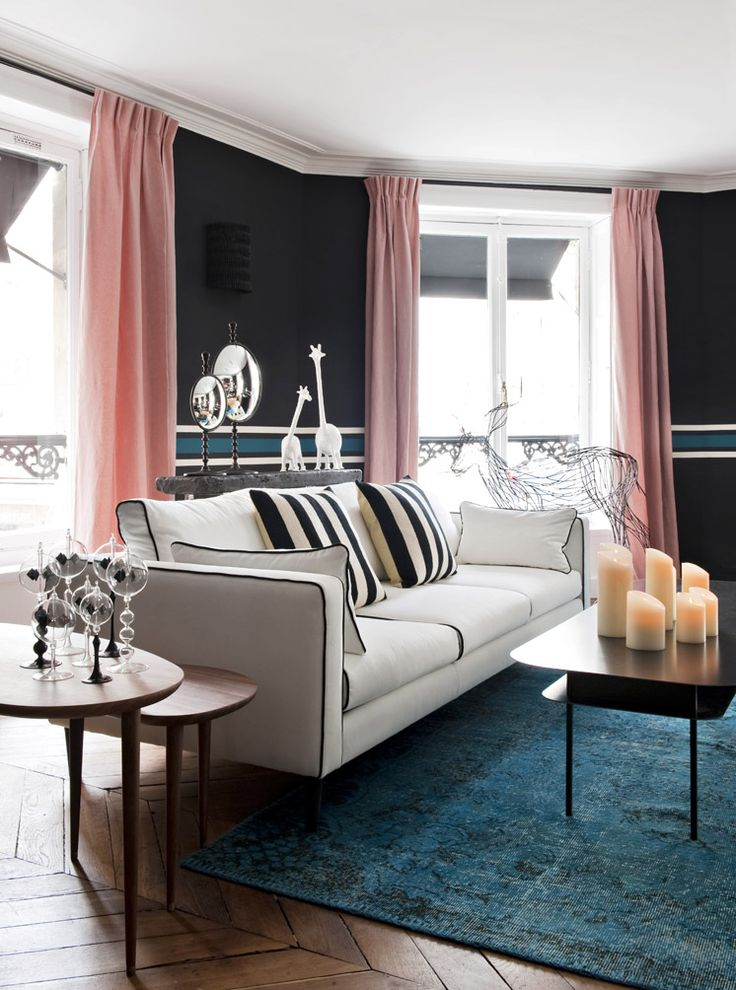 #blackwalls #blackinterior | Parisian Style | Decorating with moody color palettes — The Decorista