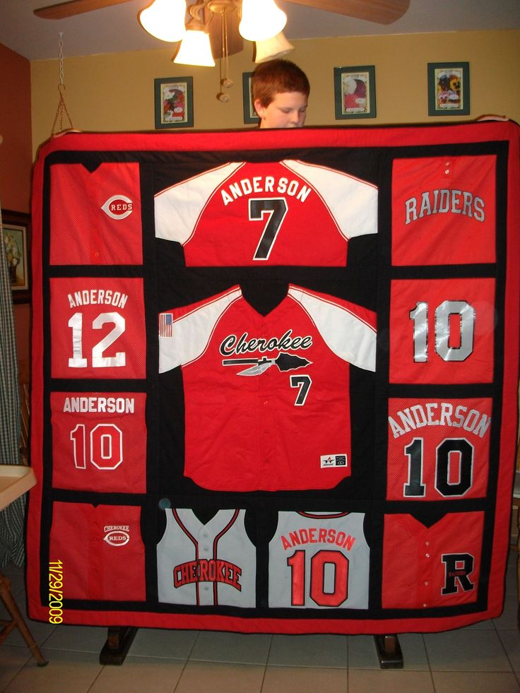 Quilt from old baseball jerseys