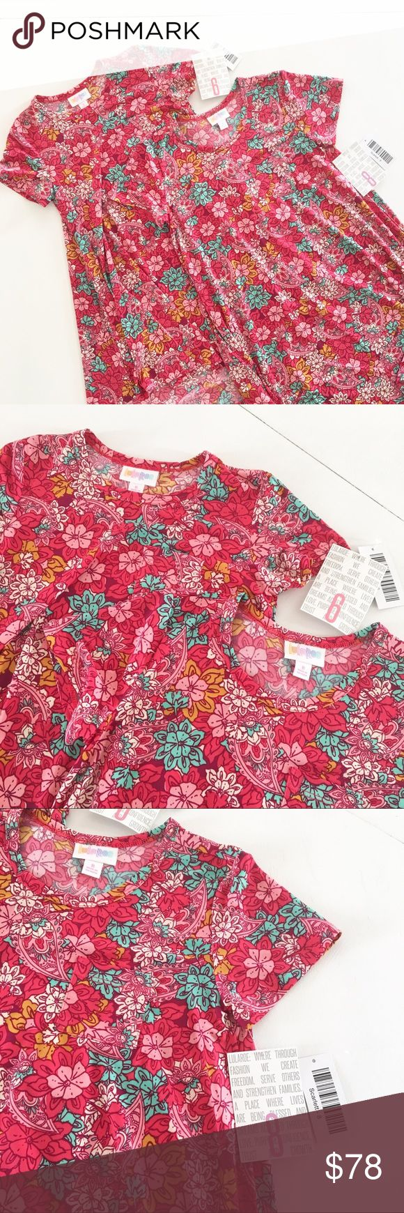 ♥️ LuLaRoe Sister Set of Scarlett Dresses {SET of TWO} Matching LuLaRoe Scarlett Dresses in Sizes 6 and 8.  Poppy pink, turquoise, and vivid orange give this swinging dress lots of punch! Splendid for barefoot seaside strolls, as a swim coverup at all the pool parties, and instagram-worthy photo shoots! New with tags. LuLaRoe Dresses