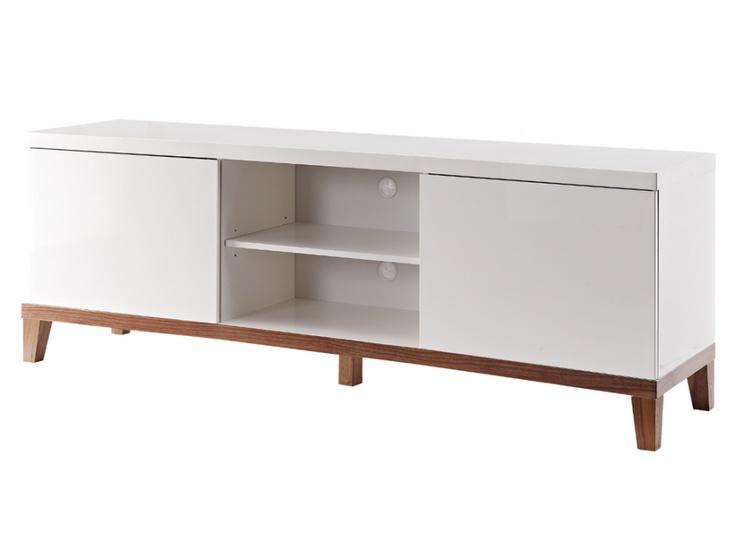 top meuble tv adema portes u niches mdf laqu blanc et noyer with repeindre un meuble laqu blanc. Black Bedroom Furniture Sets. Home Design Ideas