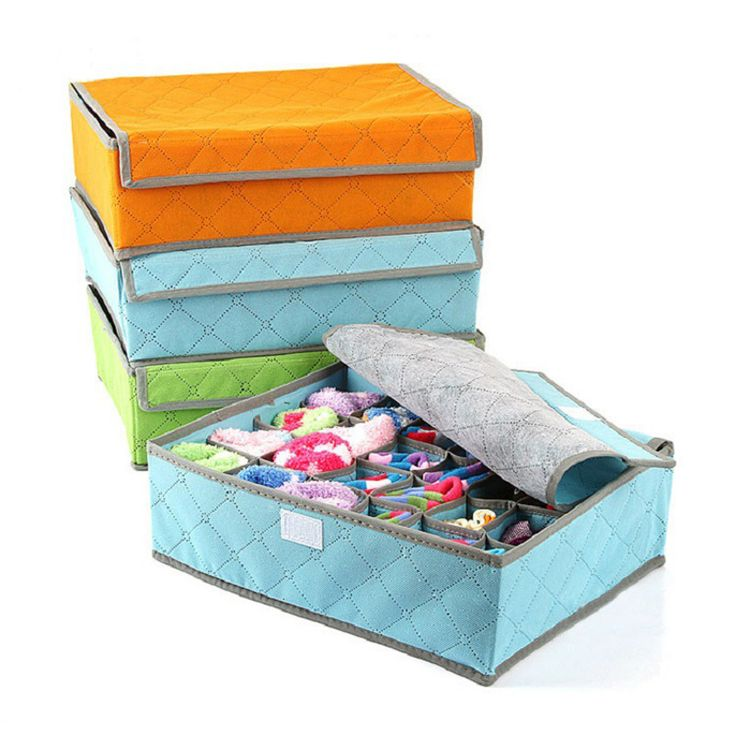 Simanfei Underwear Storage Box 2017 New Design 24 Cells Large Capacity  Folding Non Woven Bra