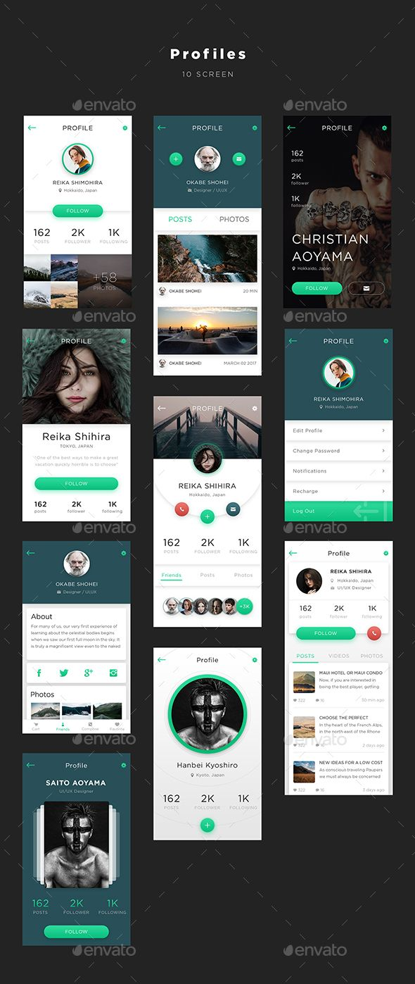 Mugen App UI KIT – Profiles (User Interfaces)