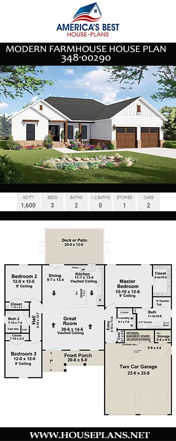 If you love the Modern Farmhouse style, you have to explore Plan 348-00290, a 1-story house plan with 1,600 sq. ft., 3 bedrooms, 2 bathrooms, a vaulted great room, split bedroom layout, and 2 car garage.