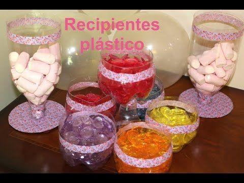 Cómo hacer recipientes de plástico para fiestas. Party ideas containers - YouTube