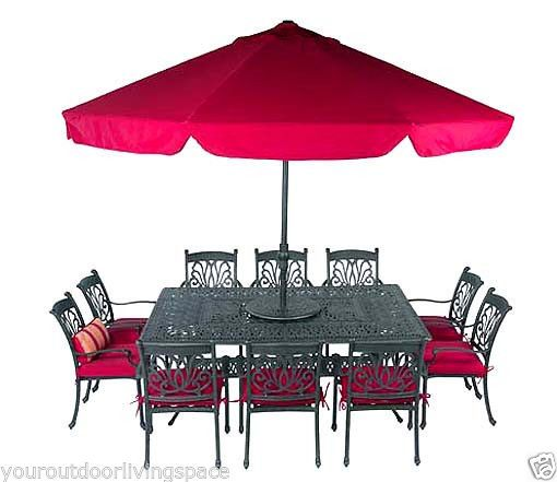 Ariana 14pc Outdoor Patio Dining Set Cast Aluminum Garden Furniture Bronze