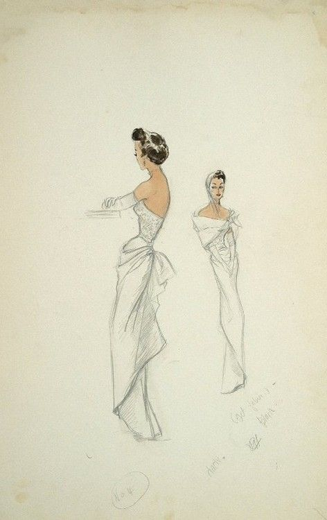 Costume sketch by Edith Head for Ruth Hussey in'Mr Music', 1950.