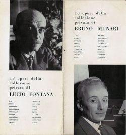 Bruno Munari invito apertura mostra alla Galleria Blu di Lucio FONTANA-lo spaziale-e Bruno Munari-il perfettissimo 1957