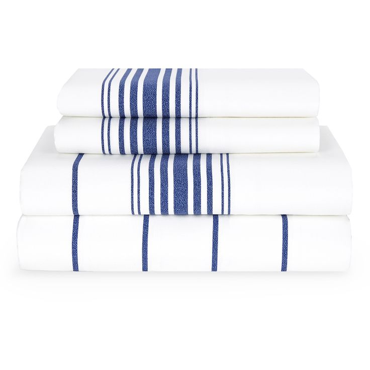 This Comfortable Sheet Set By Tommy Hilfiger Features Navy Stripes On A  White Background. Crafted