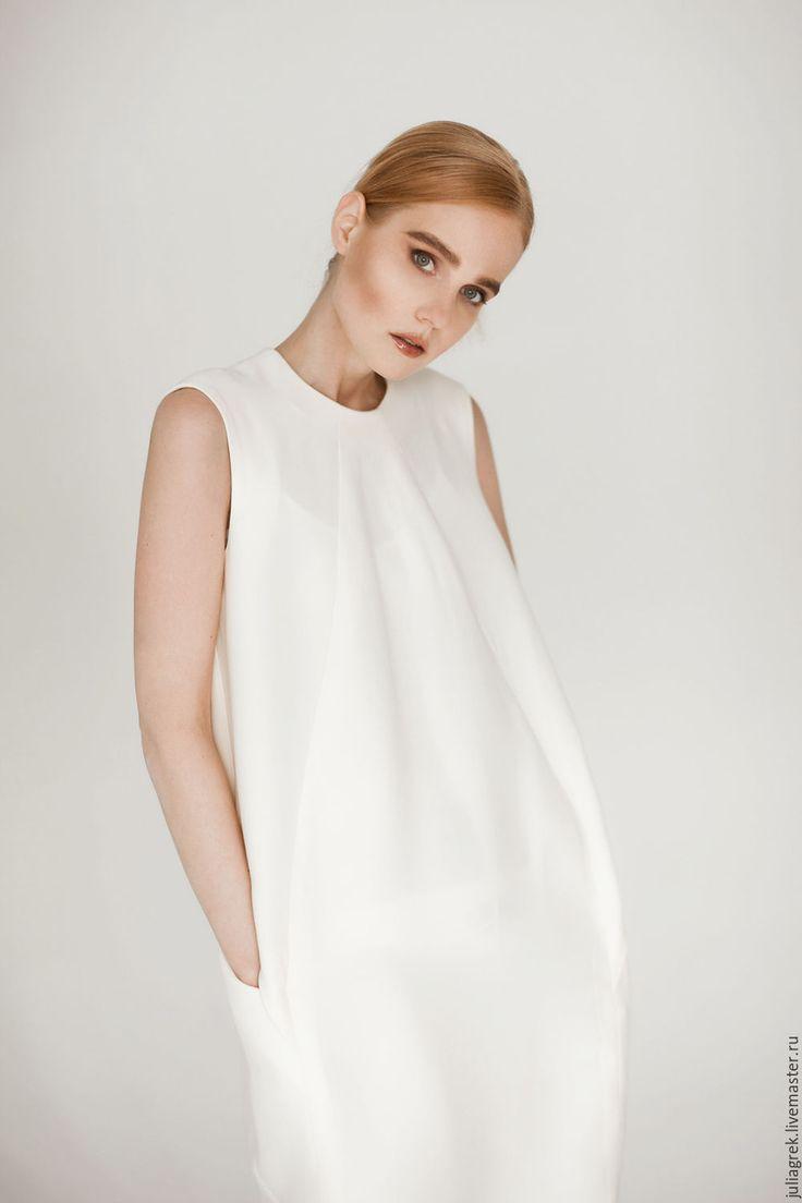 Handmade dress / Платье в цвете Экрю - белый, однотонный, авторское платье, оригинальное платье, белое платье
