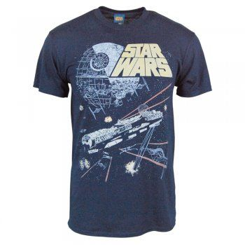 Mens Star Wars Movies Falcon Attack T Shirt Blue – Buy Star Wars gifts from Honcho-SFX UK store