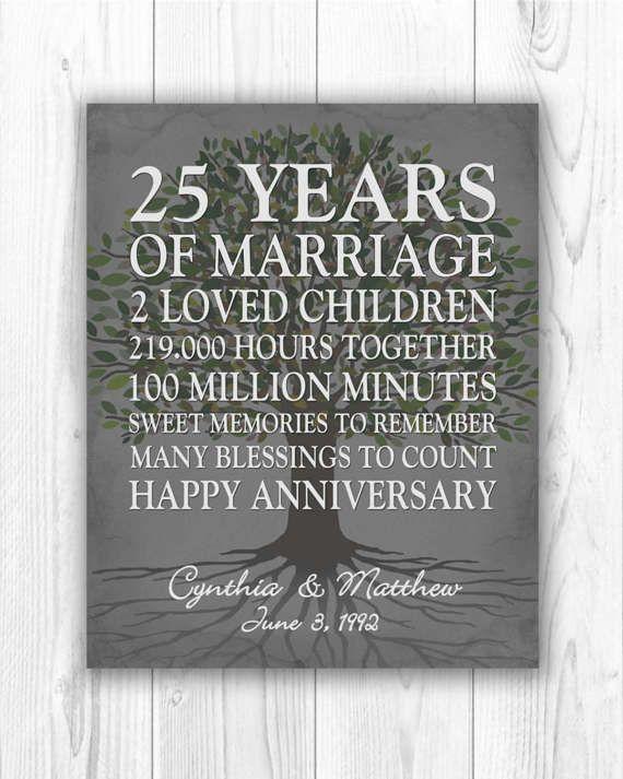 25th Anniversary Gift 25 Year Anniversary Gift by CustombyBernolli