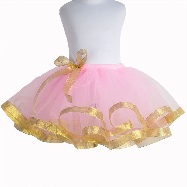 >> Click to Buy << Puffy Baby Tutu Skirt Pink Tulle Skirt with Gold Ribbon Trim Child Size 2-12 Years Handmade Wedding Flower Girl Birthday Party #Affiliate