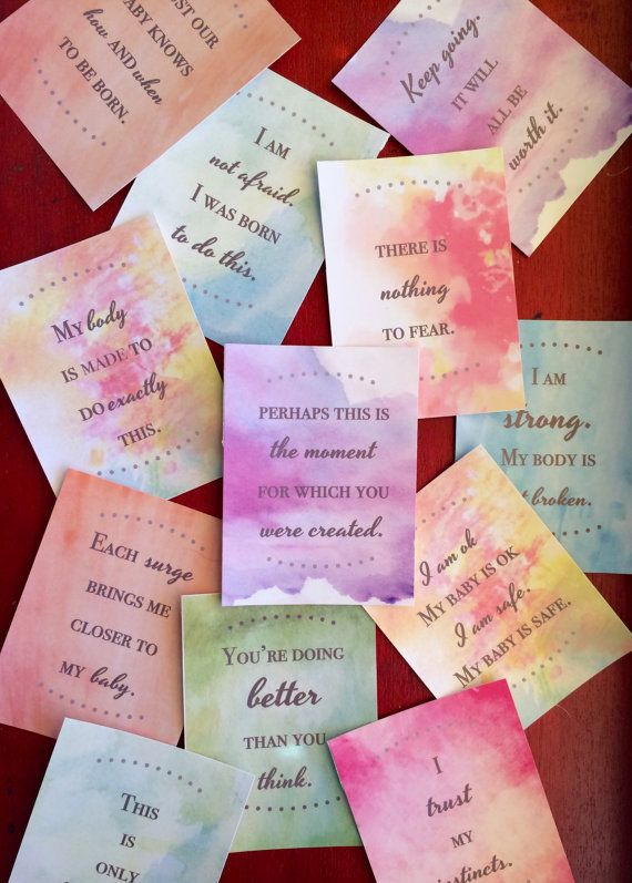 This is a set of 24 printable Birth Affirmation cards with a watercolor…