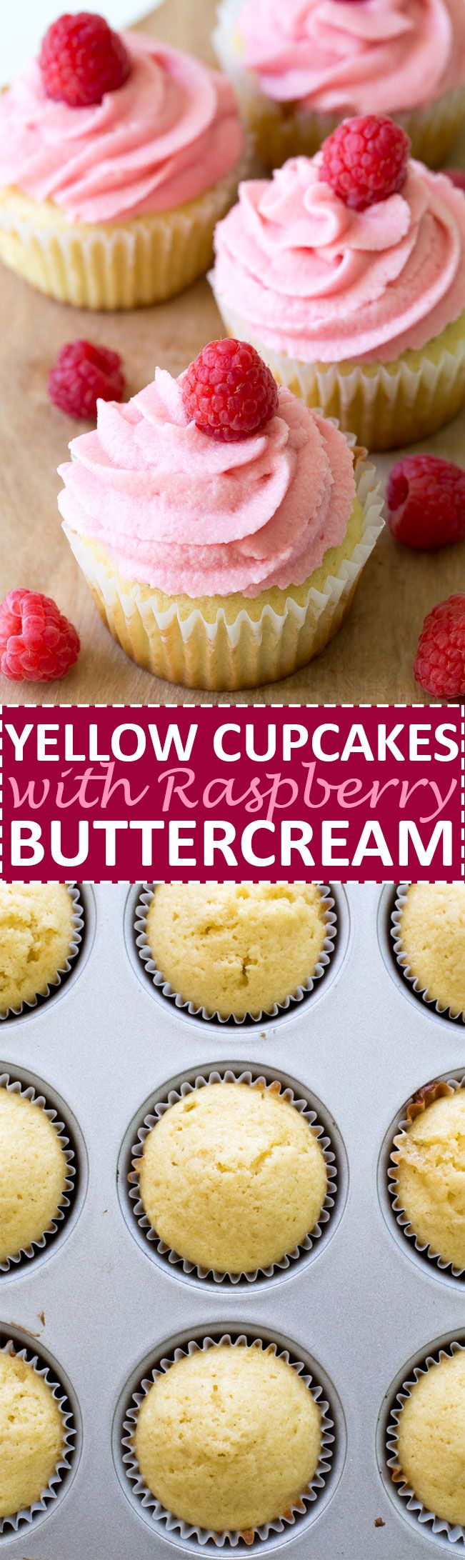 Yellow Cupcakes with Raspberry Buttercream