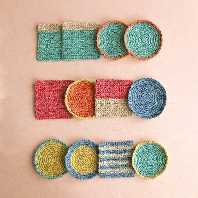 geometric crochet coasters