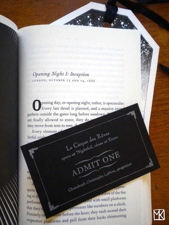 THREE letterpress tickets to Le Cirque des Reves. Printed in white ink on black…