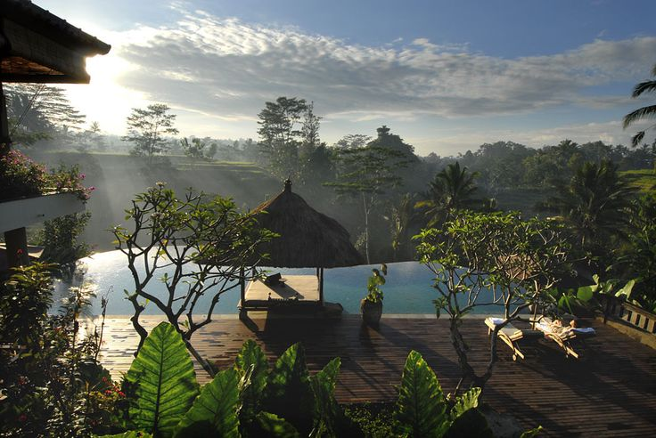 Morning sun at the large pool Villa Bayad Ubud Bali. Enjoy morning activity by exercising gym or yoga in Ubud at Villa Bayad.