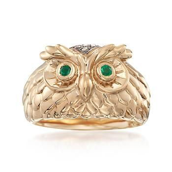 Ross-Simons - 14kt Yellow Gold Owl Ring With Emeralds and Brown Diamond Accents - #883682