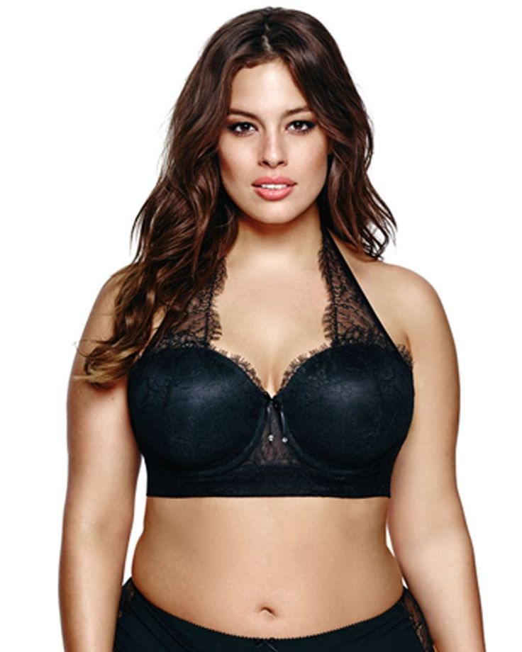 This sexy padded, strapless bra by Ashley Graham transforms to meet your needs! Straps convert from regular to halter, cross back or one shoulder. Satin bindings trim the lace halter for a sultry look. Lace lined with mesh at center gore and sides create the illusion of transparency. Wear this plus size bra with a matching Ashley Graham panty!