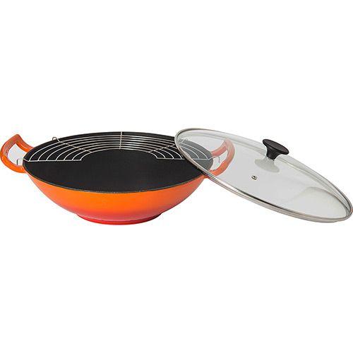 Panela Wok de Ferro Fundido 36cm Laranja - La Cuisine