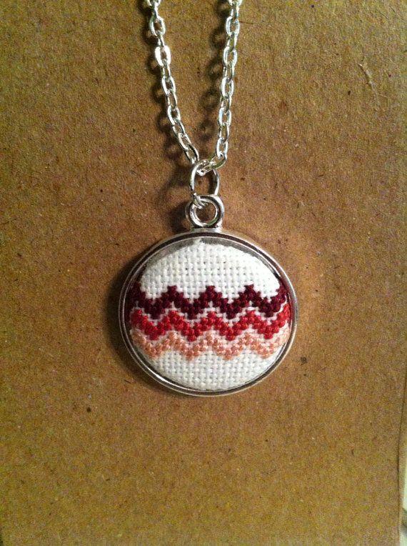 Chevron Cross Stitch Necklace by ashleighpurcel on Etsy