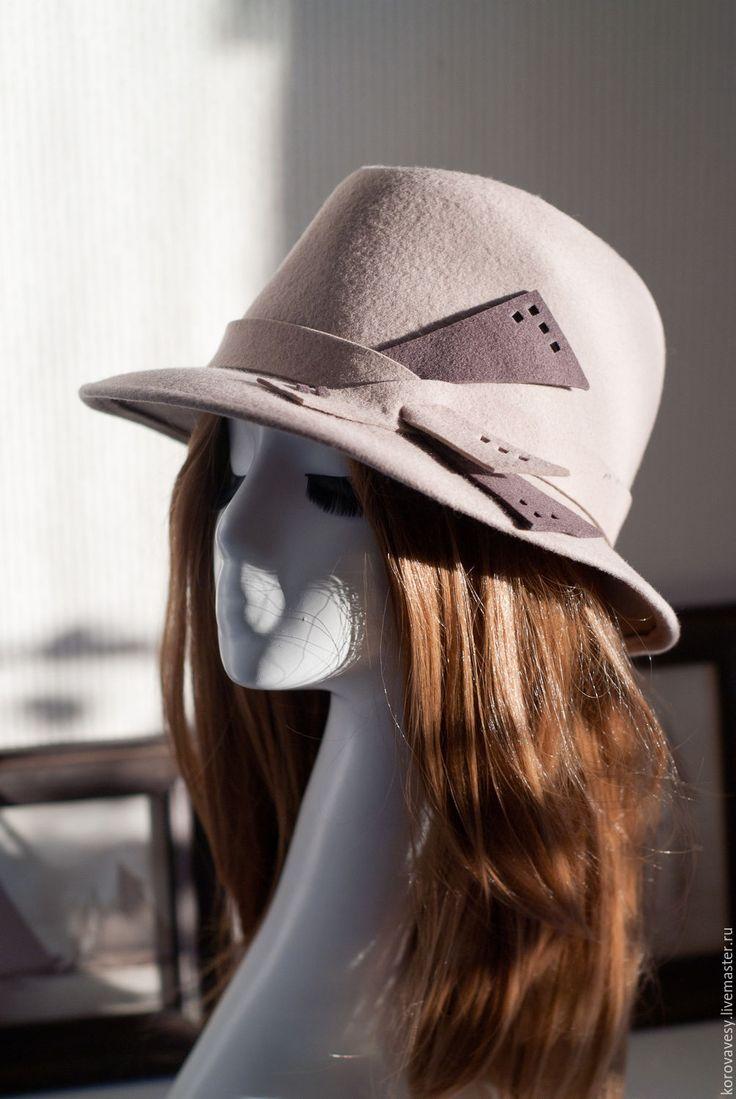 """Купить """"12й кадр"""" - бежевый, шляпа, женская шляпа, федора, фетровая шляпа, шляпа из фетра"""