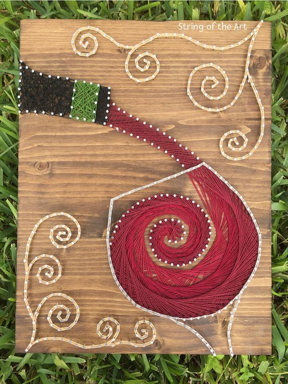 String Art Crafts Kit, Red Wine Decor, Crafts Project, Handmade DIY Crafts, DIY Decor - Includes String, Nails, Wood, Instructions, Pattern