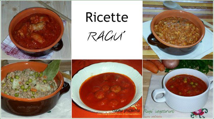 Ricette ragù, una raccolta ricette di ragù o sughi per primi piatti.