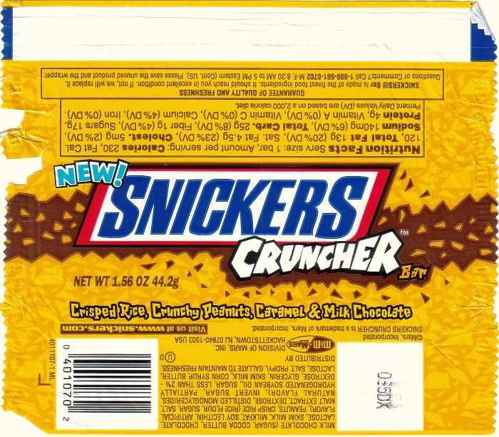 2000 Snickers Cruncher Candy Wrapper