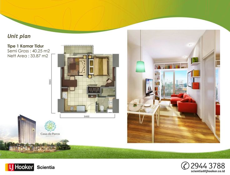 UNIT PLAN - 1 BED ROOM - MAGNOLIA Tower @ Casa de Parco Apartment, BSD City