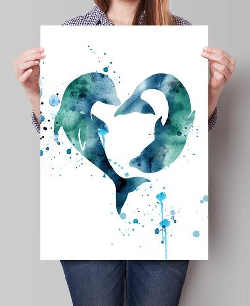 Dolphins Watercolor Print, Dolphins Print, Dolphin Watercolor Poster, Art, Dolphins Poster, Watercolor Wall ♥ SIZE ( Standard sizes, fit in frames found in big shops like IKEA ) ♥ If you need extra la