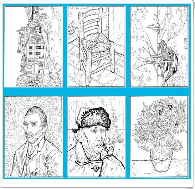 """""""30 pinturas de Van Gogh para imprimir y colorear"""" (Educación Plástica de Primaria)"""