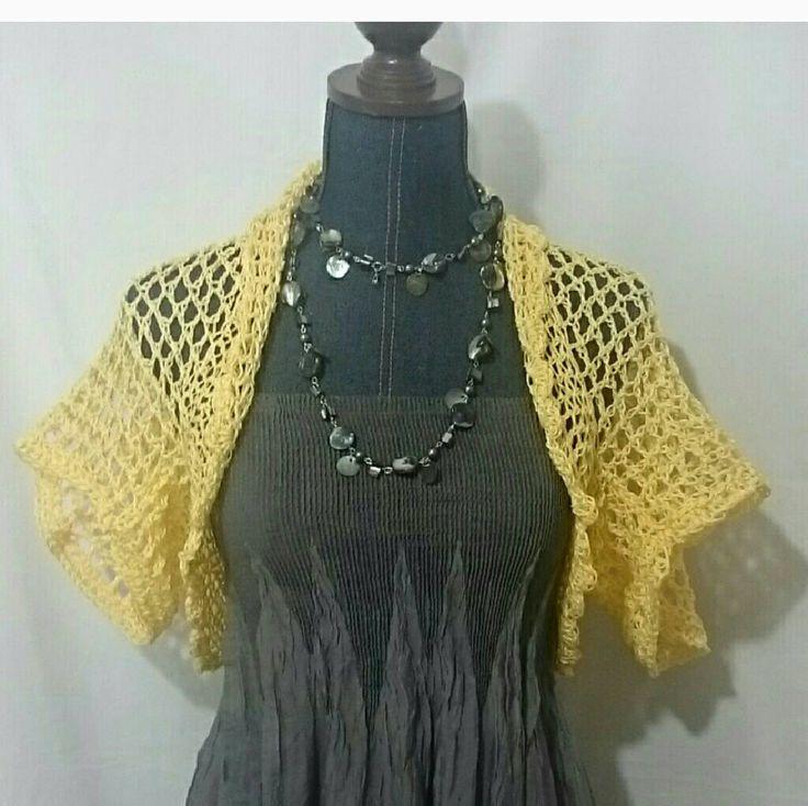 Yellow Hand Crochet Shrug Bolero Boho Festival Dress Cover Cardigan Sweater Woman Teen Tank Cover Sundress Cover by LorisArtisanAccesrys on Etsy