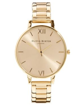 Olivia Burton – Goldene Armbanduhr mit großem Zifferblatt