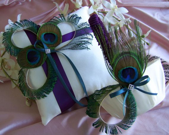 Peacock Feather Wedding Accessories Flower Girl Basket and Ring Bearer Pillow Set Purple and Teal Wedding Colors