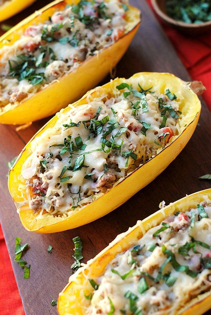 Recipe for Healthy Spaghetti Squash Boats with Spicy Sausage