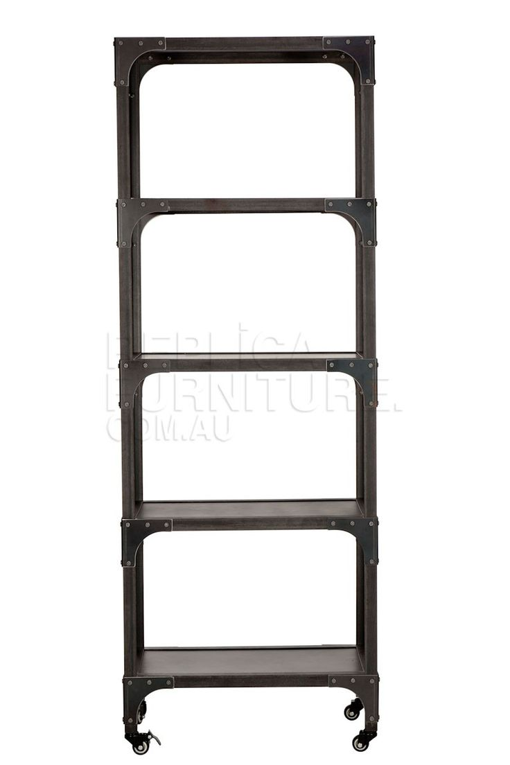 Industrial Bookshelf -- This Industrial Bookshelf has a raw, iron feel which screams of industrial revolutions and a time long past.  This classic French vintage industrial shelf is constructed of solid steel with four useful shelves, and makes an ideal bookshelf.  The raw look will work seamlessly with a variety of decor styles in either home or commercial settings.    $595
