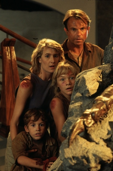 Laura Dern as Dr. Ellie Sattler, Sam Neill as Dr. Alan Grant, Joseph Mazzello as Tim Murphy & Ariana Richards as Lex Murphy - Jurassic Park