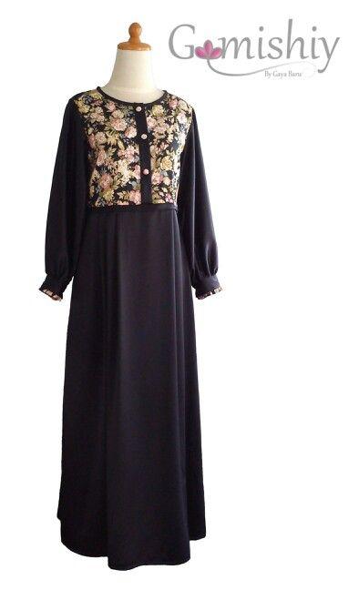Gamis hitam kombinasi katun jepang motif