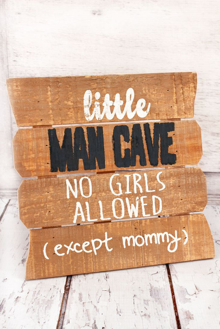 10 x 9.75 'Little Man Cave' Wood Plank Tabletop Sign #EFDY0023