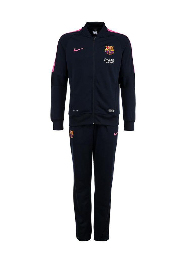 """Спортивный костюм от Nike сочетает в себе качество и удобство. Приятный на ощупь материал с функцией Dri-FIT отводит влагу от тела, сохраняя кожу сухой. Детали: прямой крой; олимпийка с высоким воротником и застежкой на молнию, два кармана на фронтальной стороне, эластичные резинки по канту и на локтях, контрастные сетчатые вставки розового цвета; брюки с эластичным поясом и манжетами, два боковых кармана; нашивки с символикой ФК """"Барселона"""". http://j.mp/1pdOJsc"""