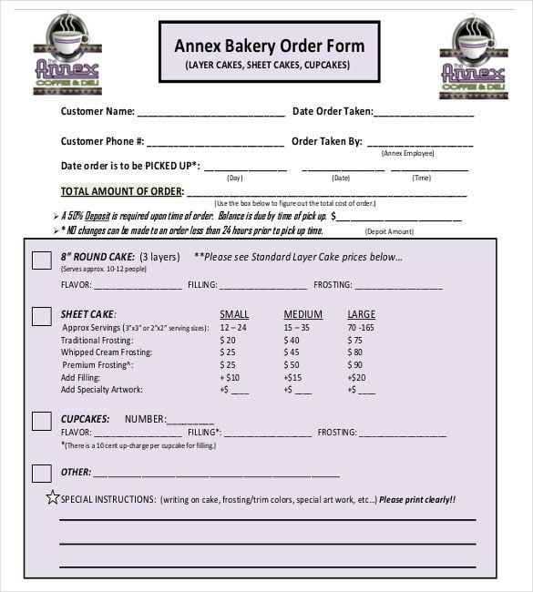 The  Best Cake Order Forms Ideas On   Order Cake