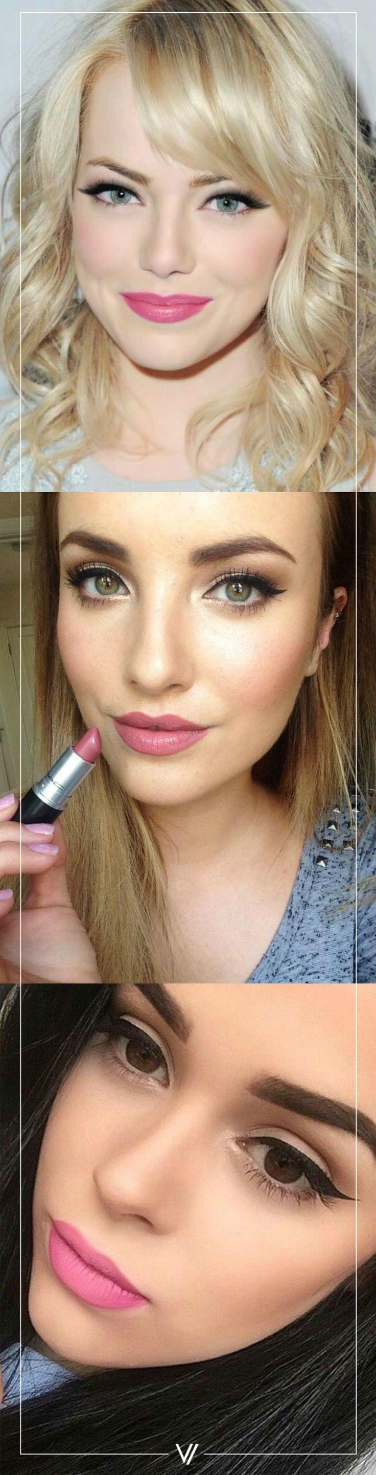 ¡Nunca se puede ir mal con un tono rosa!  #Labios #Lipstick #Makeup