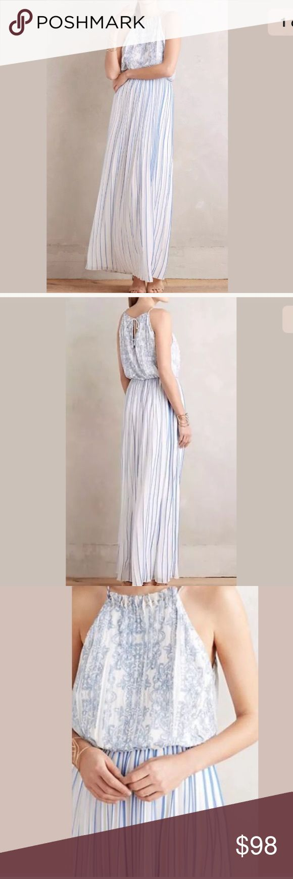 """NWT Anthropologie Livia Maxi Dress Sz M New With Tag Anthropologie Livia Maxi Dress Sz M   By Kas New York  Polyester; polyester lining Halter neck maxi silhouette Tie closure Hand wash length: 60"""" Model is 5'10"""" Anthropologie Dresses"""