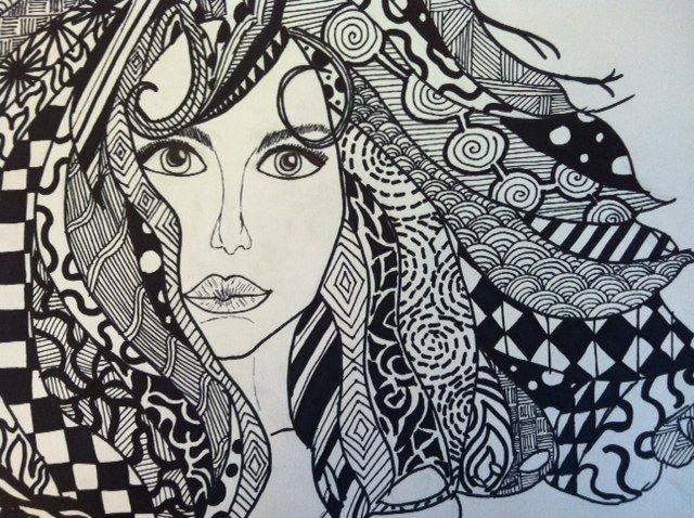 zentangle women curly
