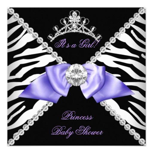 Purple Zebra Baby Shower Girl Princess Black White Personalized Announcement by Zizzago.com