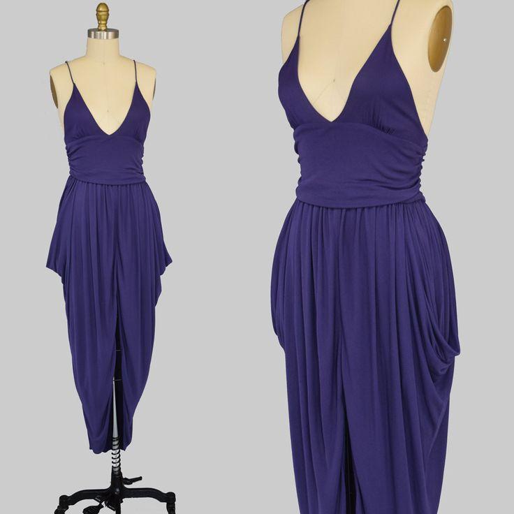Vintage 70s Grecian Disco Dress Designer Roland Klein M