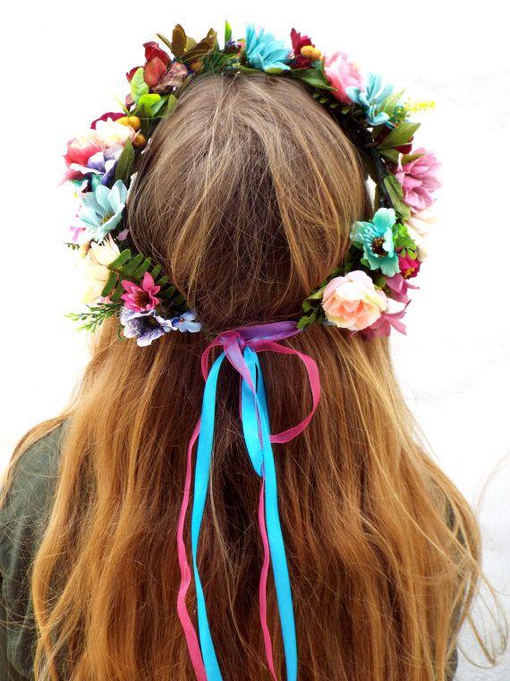 Frida Kahlo fascia floreale colorata corona di DelosArtist su Etsy